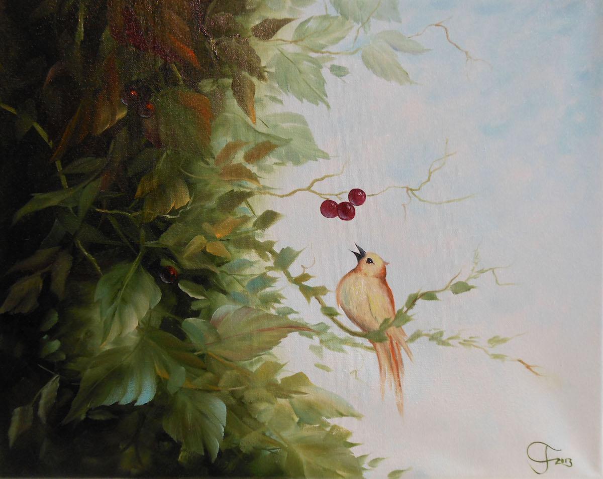 Vogel mit Kirschen